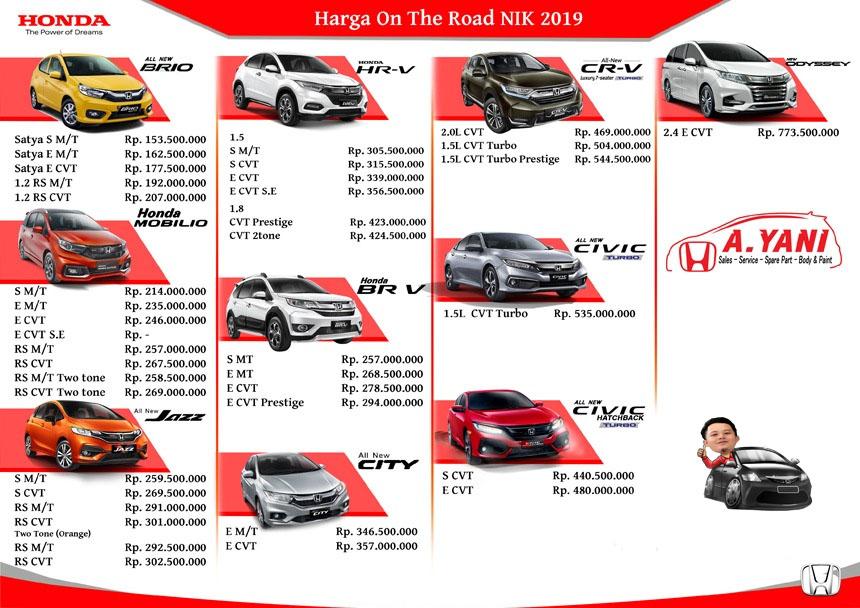 Daftar Harga Mobil Honda Di Bandung April 2021