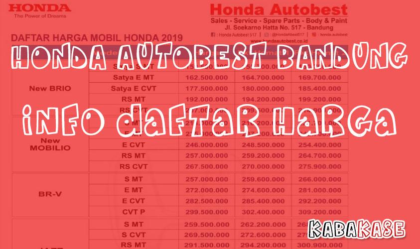 Info Daftar Harga Honda Autobest Bandung