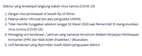 keringanan bca finance terhadap virus corona