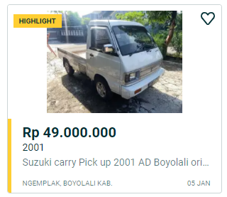 Suzuki Carry Pick Up 49 juta solo